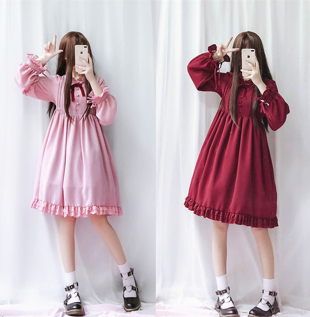 Tea Party Princess Ruffled Girl Lolita Dress Winter Princess Lolita Dress  Long sleeves falbala dress Bowknot plus size lolita