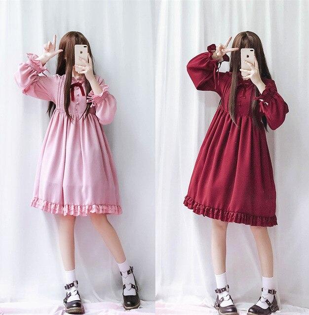 Thé Party princesse à volants fille Lolita robe hiver princesse Lolita robe manches longues falbala robe Bowknot grande taille lolita