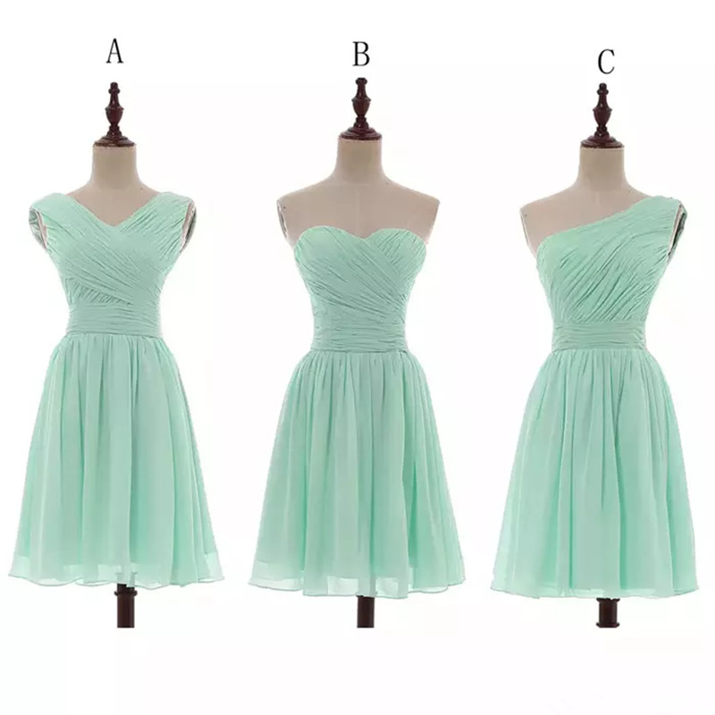 Holievery Pleated Chiffon Short  Bridesmaid Dress Lace Up 2020 Knee Length Wedding Guest Dresses Mint Green Bridesmaids Gowns