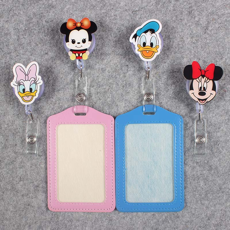 Vertical Badge Scroll Duck Office Reel Cute Scalable Nurse Exhibition Hospital Entrance Guard Card ID PU Girls Mouse Card Holder