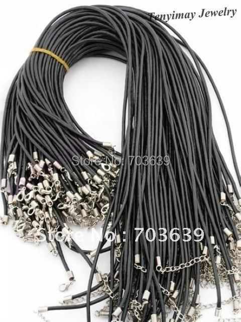 Wholesale 100pcs/Lot Rubber Necklace Cords Free Shipping, Fashion 2mm Rubber Rope With Lobster Clasp, Rubber Cord, Jewelry Cord