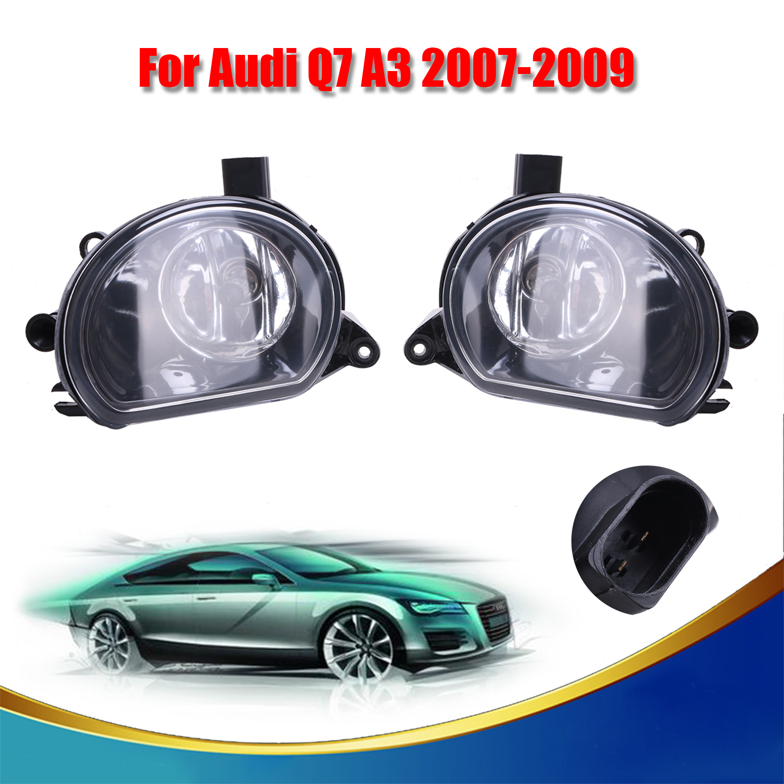 1 Pair Car Accessory Front  Fog Lights Lamp  With H7 Bulbs For AUDI Q7 A3 2007 2008 2009 OEM 8P0941699 + 8P0941700 // right side front fog light headlight for audi a3 s3 s line a4 b7 2004 2005 2006 2007 2008 oem 8e0941700 car accessory p318 r