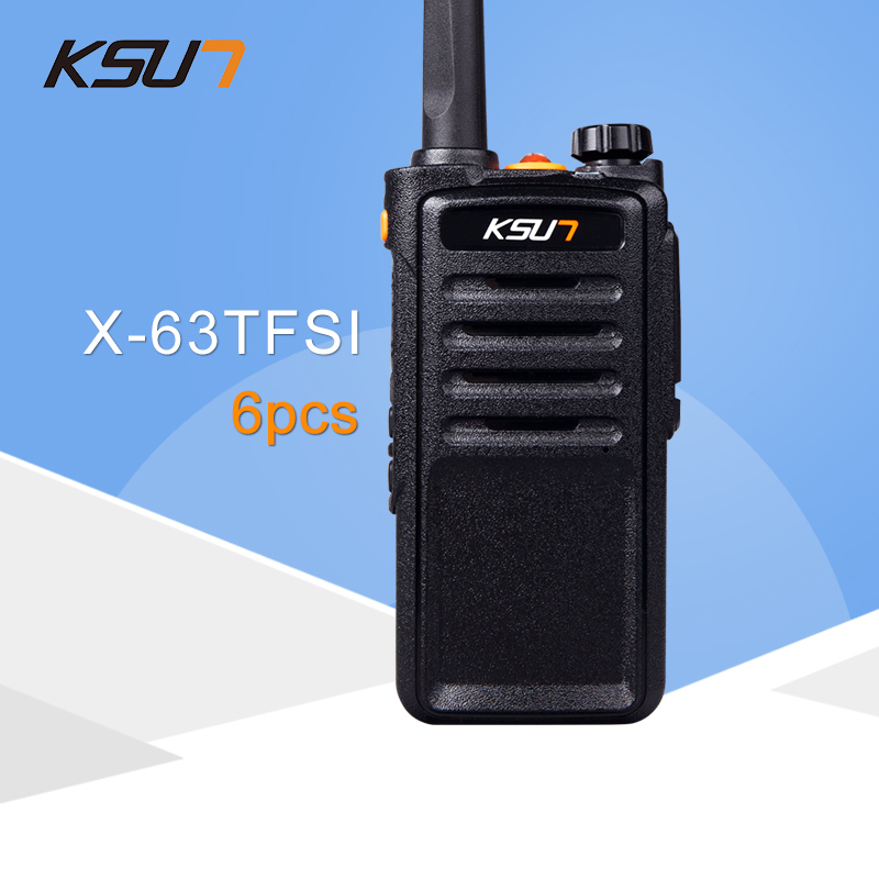(6 PCS)Black KSUN X-63TFSI Walkie Talkie UHF 400-470 MHz MINI-Handheld Transceiver Two Way Ham Radio Communicator
