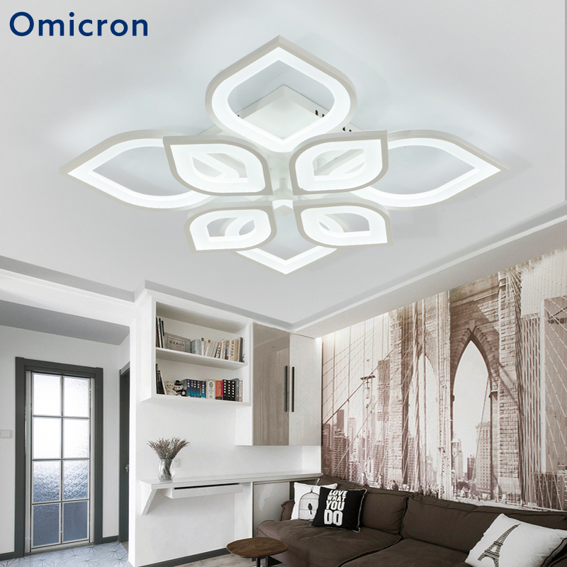 Omicron Modern LED Ceiling Creative Flowers Light Home Lamp White Black Acrylic Simple Lamps For Living Room Bedroom Lighting modern ceiling lamp contemporary acryl creative lighting simple design white black luminaire ac for living room hall foyer light