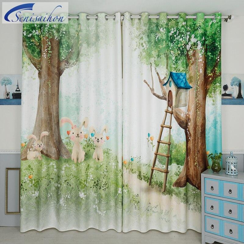 Cartoon Trees Curtains For Bedroom Cotton Linen Towel: Senisaihon 3D Blackout Curtains Cartoon Tree Forest Rabbit