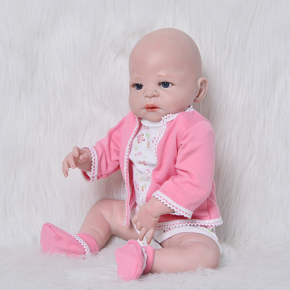 Lifelike Wholesale Bald Reborn Bonecas 23 57cm Full Silicone Vinyl Wear Pink Suits Girl Baby Doll For Kids Xmas Gift Shower Toy dolls reborn 23 inch lifelike princess girl full silicone vinyl newborn baby doll handmade alive bonecas kids christmas gift