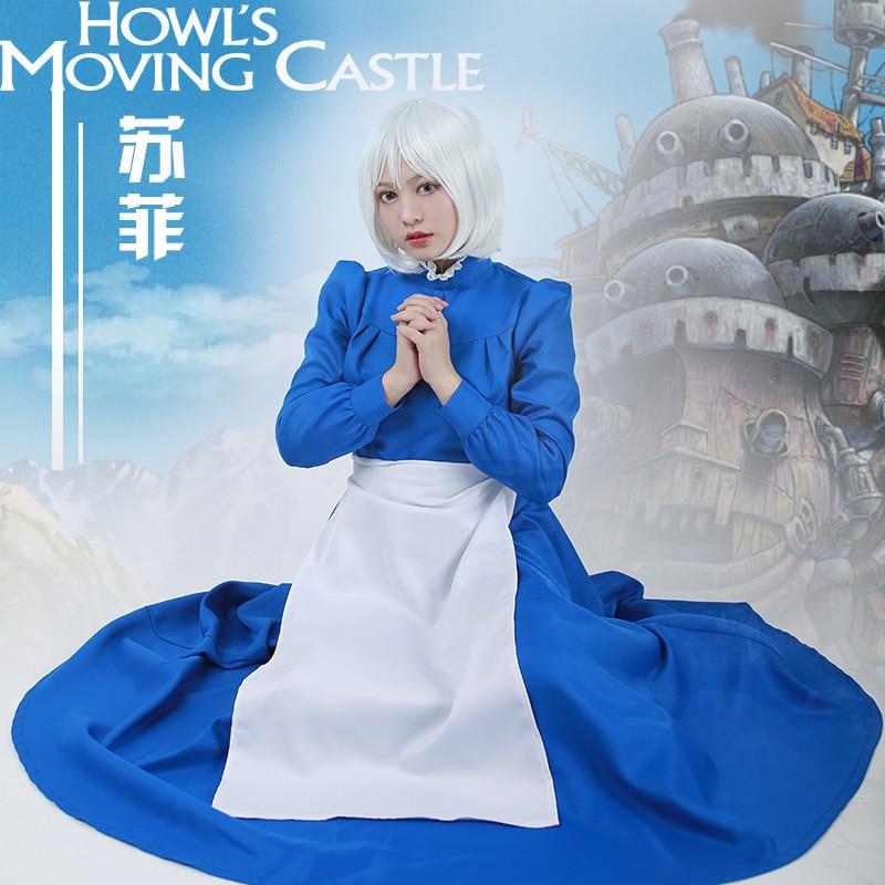 Sophie Cosplay Costume Women Blue Long Dress Apron Howl's Moving Castle