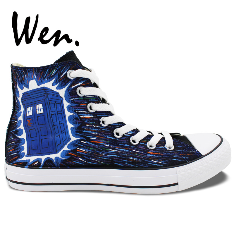 Wen Design Tardis Doctor Who Hand Painted Canvas Sneakers High Top Customized Men Women Outdoor Activities Style Athletic ShoesWen Design Tardis Doctor Who Hand Painted Canvas Sneakers High Top Customized Men Women Outdoor Activities Style Athletic Shoes