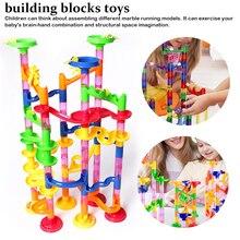 109pcs Set DIY Construction Marble Race Run Track Building Blocks Kids Maze Ball Roll Toys Christmas Gift