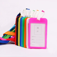 1PC Candy Colors ID Card Holder Border Name Ldentity Badge Holders Office Working Permit Card Badge with Lanyard(China)