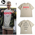 Camisa de T dos homens de Justin Bieber Propósito Turnê Moda Hip Hop Curto manga comprida T-shirt Homme A Minha Mãe Não Gosta Que Você Letra Impressa Tops Tee