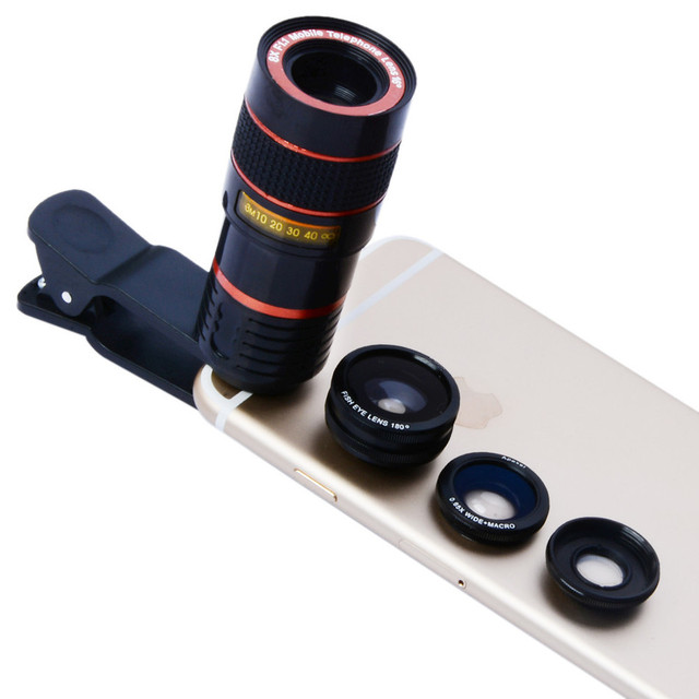 2017 Newest Phone Camera Lentes Kit 8X Zoom Telephoto Lenses Fish Eye Wide Angle Macro Lens For iPhone 7 6 5 s Xiaomi Samsung S7