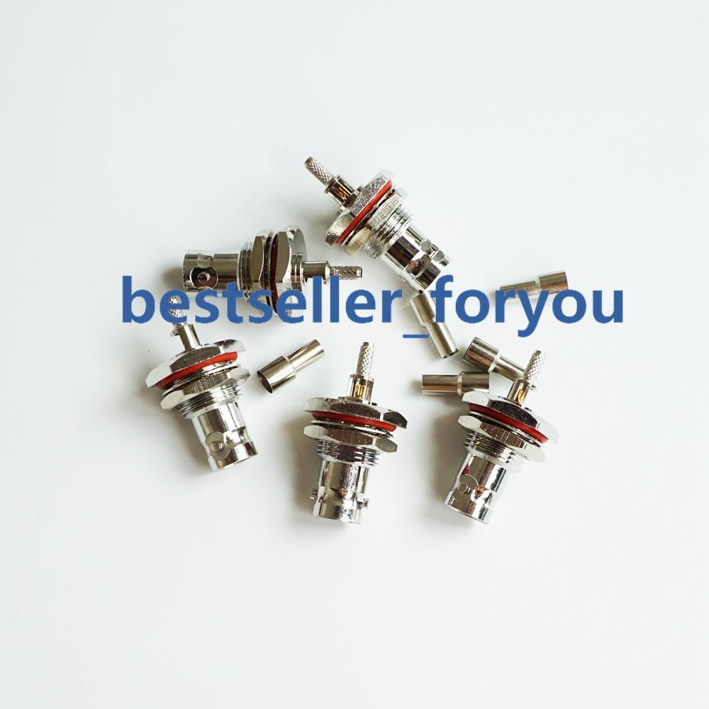 5X BNC Crimp Female Jack Bulkhead O Ring Coax Connector For RG179 RG174 RG316 Connectors     - title=