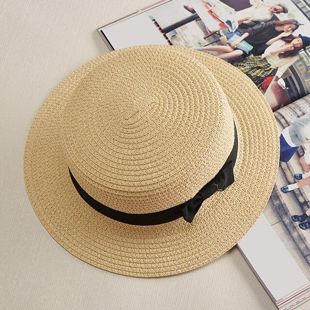 Stile di estate Sole Bambino cappello Della Spiaggia Sunhat del cappello di  Fedora Trilby Paglia cappello d0a2b8d59092