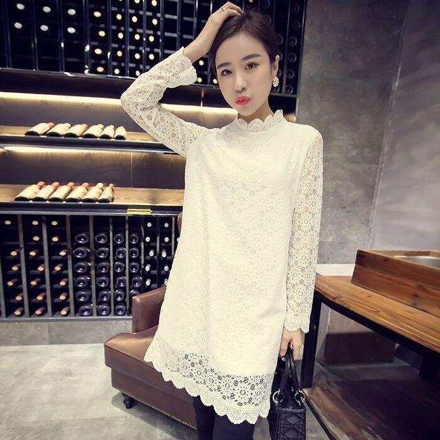 Autumn spring plus size clothing mm loose top medium-long basic shirt long-sleeve T-shirt turtleneck lace shirt
