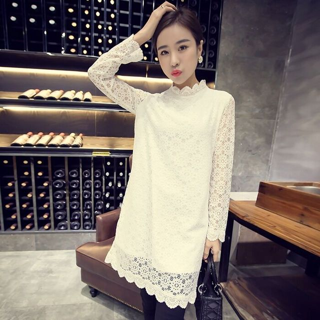 Otoño primavera plus size clothing mm superior floja camisa básica medio-largo de manga larga camiseta de cuello alto camisa de encaje