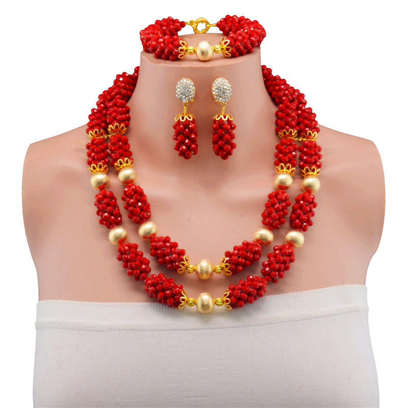 Red African Beads Jewelry Set Crystal Beads Necklace Set Nigerian Wedding African Crystal Beads Jewelry Set 2017-in Jewelry Sets from Jewelry & Accessories    1