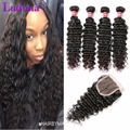8A Brazilian Virgin Hair Deep Wave 4 Bundles With Closure Curly Weave Human Hair With Closure Brazilian Deep Curly With Closure