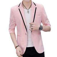 2019 Mens Korean Slim Fit Fashion Blazer Suit Jacket Male Summer Three Quarter Pink Blazers Men Coat Banquet Wedding Dress M 3XL