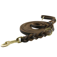 Extra long Size Dog Real Leather Leash Handmade Braided Genuine Leads Pet Training Chain Rope for Pitbull German Shepherd