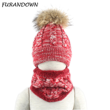 2019 Kids Winter Hat With Scarf Warm Fleece Inside Beanie Winter Cap Children Real Mink Fur Pompom Hat Twisted Knitted Skullies цены онлайн