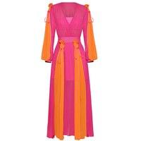 Высокое качество, новейшая мода 2019, дизайнерское Макси платье для подиума, женское платье с рукавами фонариками, очаровательное цветное Пли
