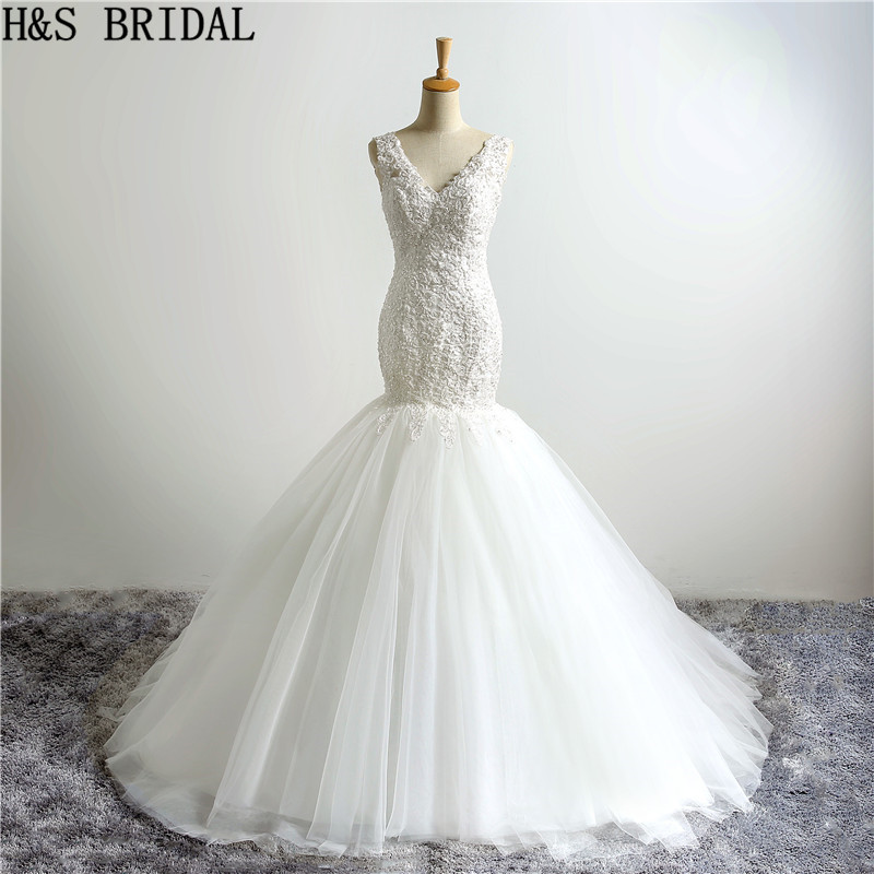 H S BRIDAL Mermaid wedding dresses Sleeveless appliques bridal wedding gown high quality gowns for women