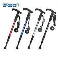 New Popular Alpenstock T Handle Four Sticks Aluminum Alloy Hiking Walking Stick Resistance Absorbent Shakeproof