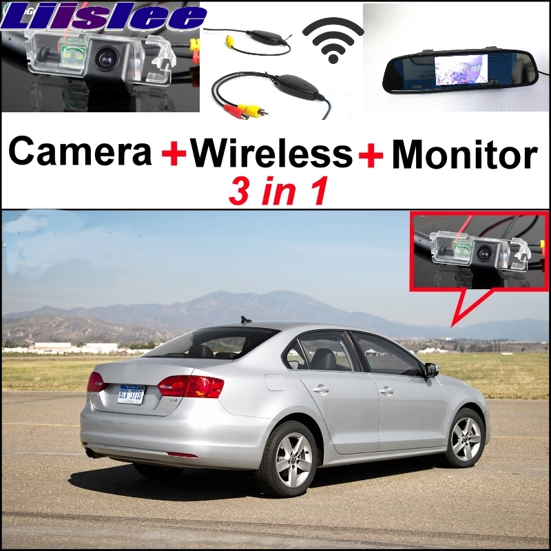 Liislee Special Rear View Camera + Wireless Receiver + Mirror Monitor Easy Parking System For Volkswagen VW Jetta MK6 New Bora 3 in1 special rear view camera wireless receiver mirror monitor easy diy backup parking system for jeep liberty 2002 2007