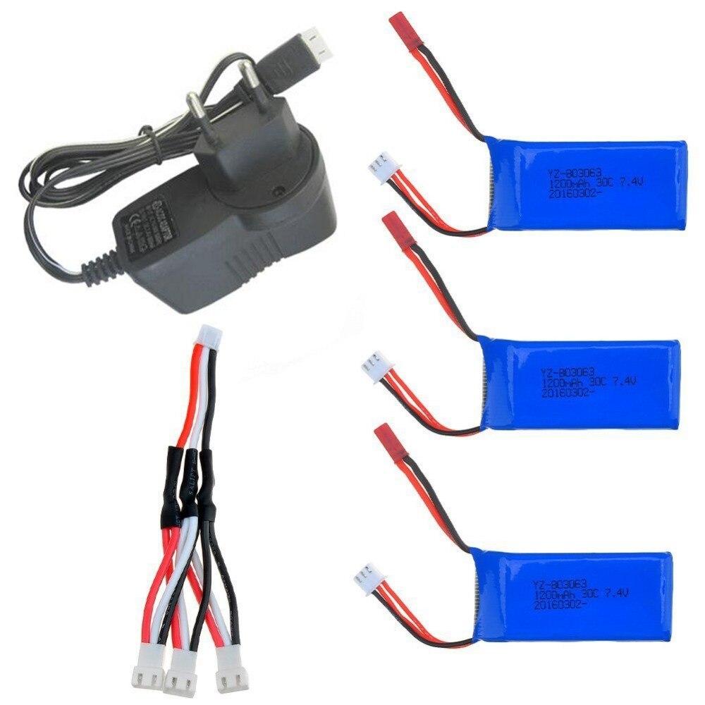 3 pcs 7.4 V 1200 Mah 30C Lipo batterie Pour Yizhan X6 MJX X101 Wltoys V353 V353B V666 V262 A949 A969 A979 K929 V912 V915 RC Drone