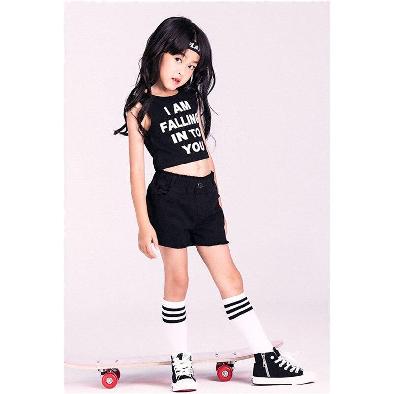 New Children Girls Jazz Dance Costumes Sets Kids Boys Cotton Vest Shorts Letter hip-hop Dance Halloween Party Clothing