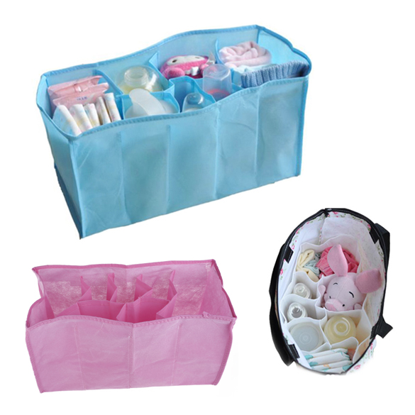 Baby Diaper Storage Bag Non-woven Fabrics Portable Travel 7 Liners Diaper Nappy Organizer Stuffs Insert Storage Bag