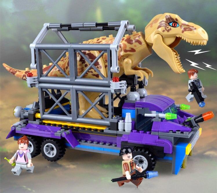 [Drôle] 400 pièces dinosaure Jurassique Escorter les Blocs de Construction De dinosaures Attraper t-rex + chiffres jouet éducation assemblage jouet enfants cadeau