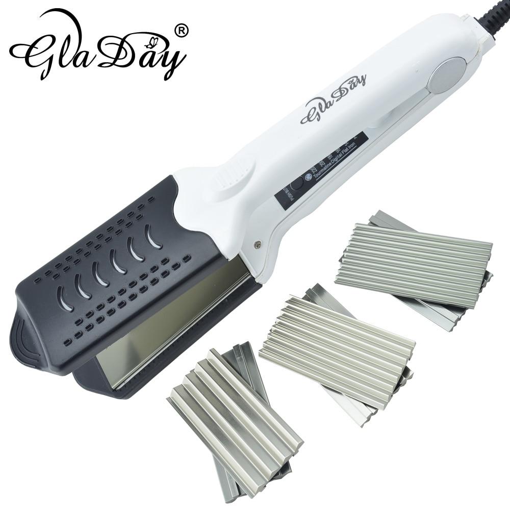 Hot Selling Multifunktionell keramisk dubbelspänning hårrätare curling hår curler korrugerad järn med 4 tallrikar med handske