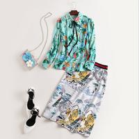 European And American Women S Wear 2017 Autumn New Fund Collar Band Printed Shirt Character Print