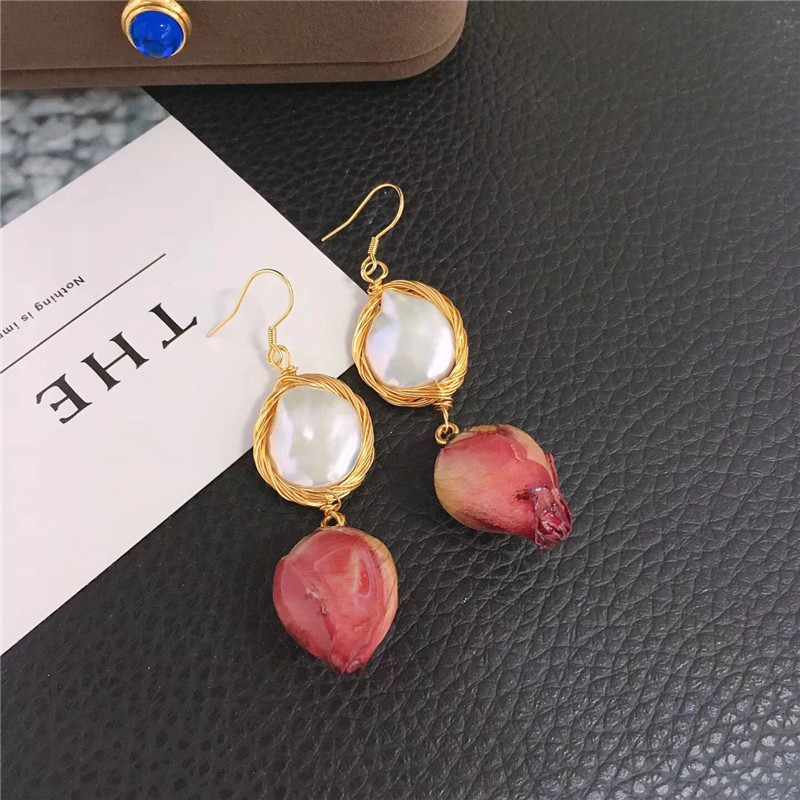 Women Gold Filled Crescent design hand-woven Pearl Stud Earrings for Girls Fashion Enamel color rose design Autumn ornaments