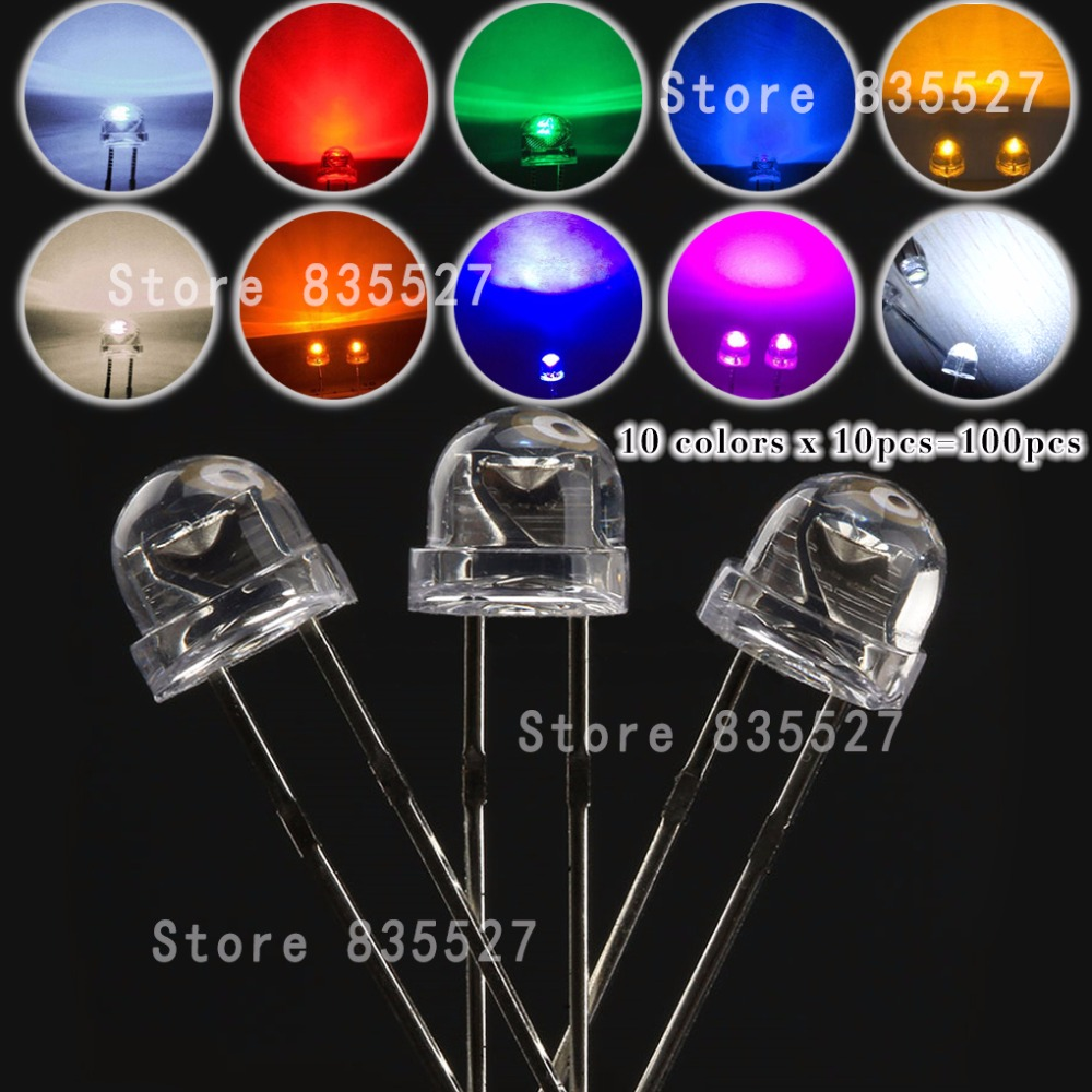 100pcs MIX 5mm LED F5 Assorted Kit Straw Hat Clear Warm White Green Red Blue UV Yellow Orange Pink DIY Light Emitting Diode Set