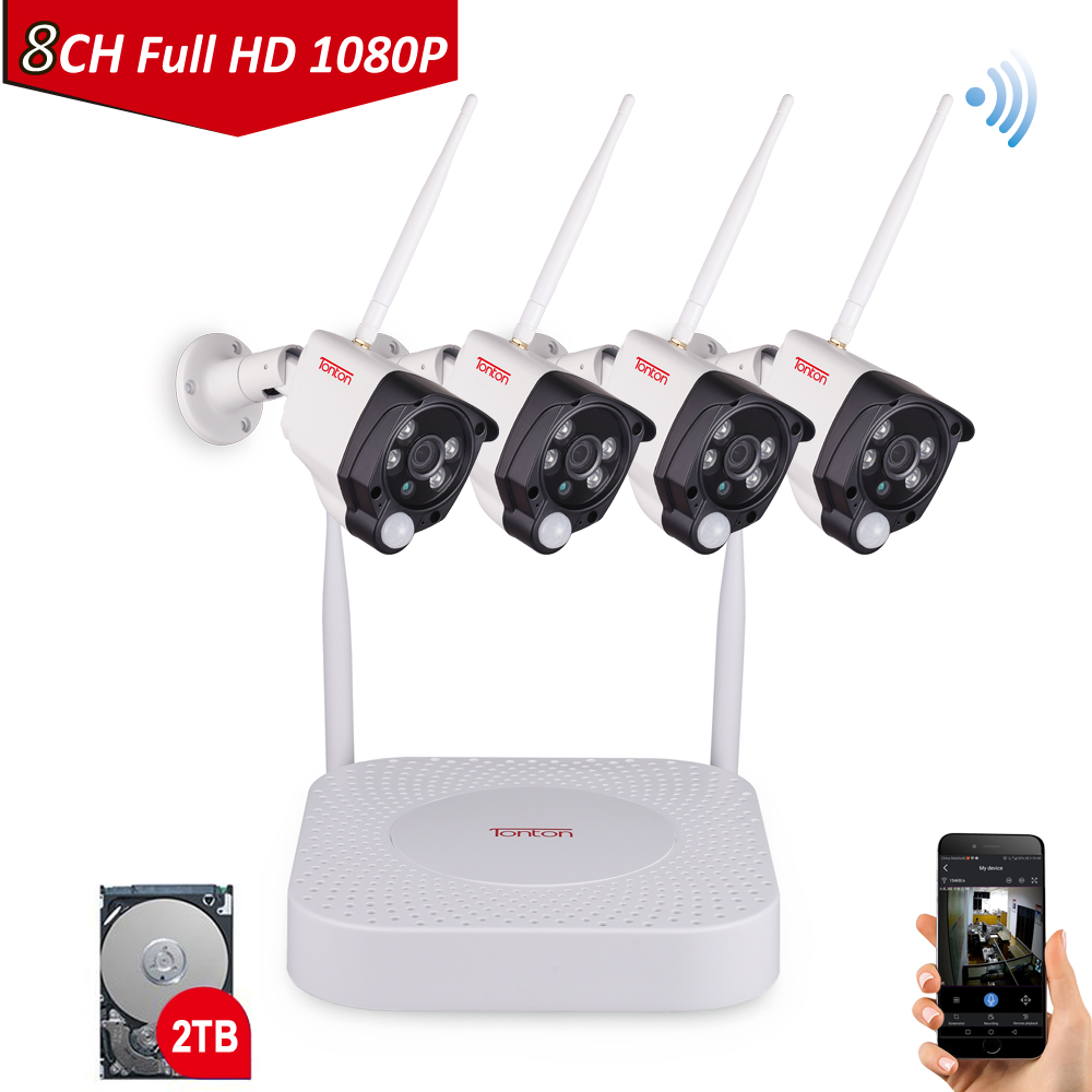 Tonton 8CH 1080P Smart Home Security IP Camera Audio Recording PIR Sensor 2T HDD font b