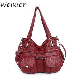 WEIXIER New Women shoulder crossbody bag female casual large totes high quality PU leather ladies hobo messenger bag NS-107