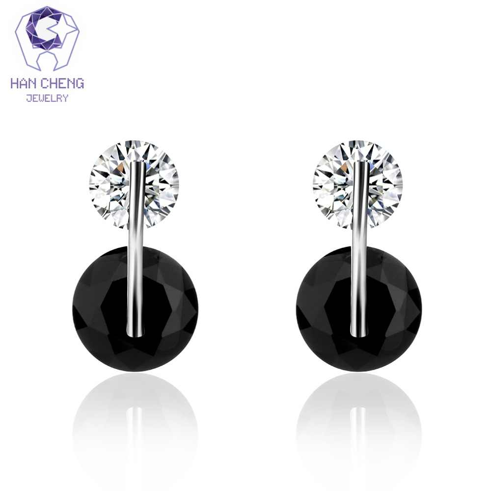 HanCheng New Fashion Charm Black Silver Plated Nail AAA Zircon CZ Gem Stone Round Stud Earrings For Women Jewelry bijoux brincos