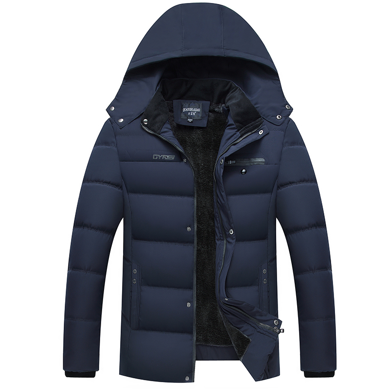 New 2018 Men's Casual   Parkas   Solid Fleece Winter Jackets Men Hooded Thick Warn Padded Overcoat Man Jaqueta Masculino Inverno