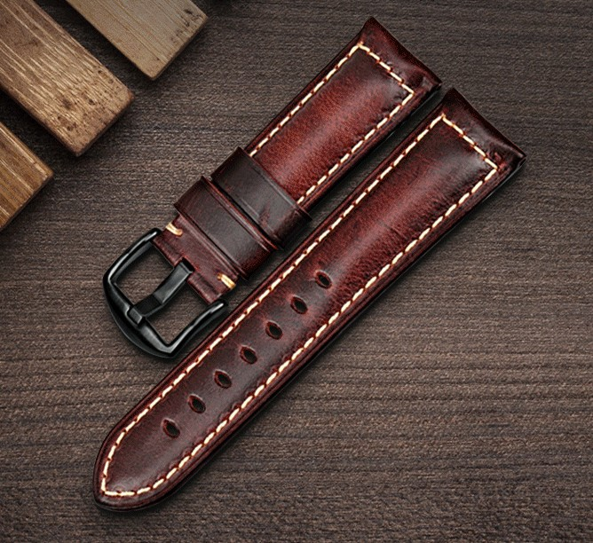 Genuine Cow Leather Strap Watch Bracelet With Buckle Greasedleather Vintage Watch band 22mm 24mm Watchband a149 light grey alligator genuine leather watch strap 24 24mm watchband with buckle