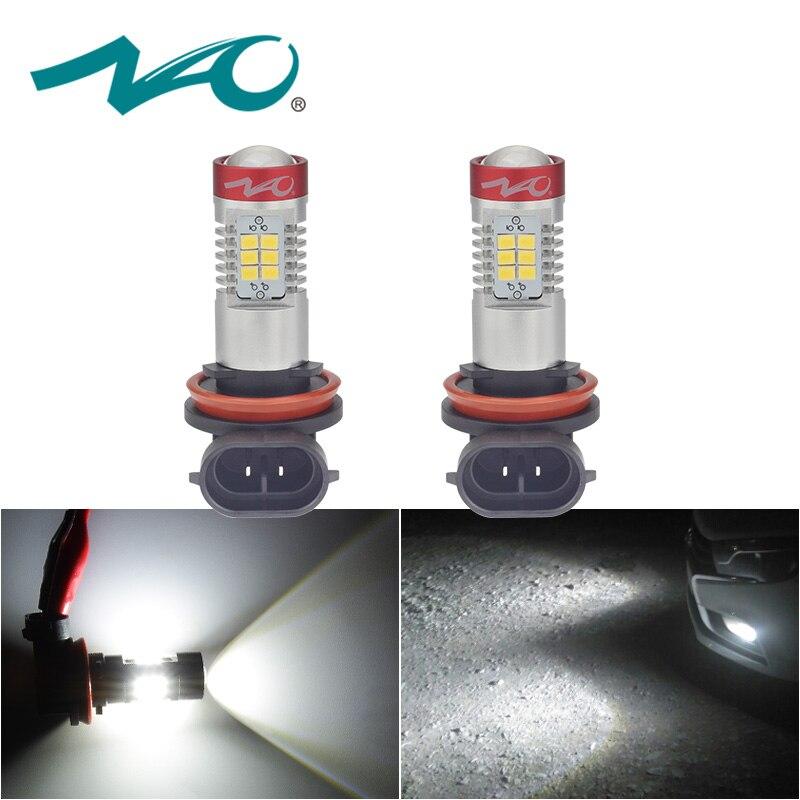 NAO 2x h11 led auto hb4 ha condotto la lampada per auto della luce di nebbia 12 v Automobili H16 H9 hb3 ha condotto la lampadina DRL H10 9006 auto luce 9005 1200LM 6000 k