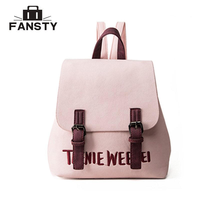 Summer Cheap Women Travel Bag Female Embroidery Pu Leather Female Letter Backpack Quality Knapsack Japan And Korean Style Ladies