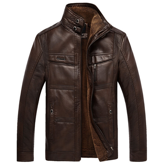 Men's Winter Motorcycle PU Leather Jacket Coat Thick Warm Velvet Stand Up Collar Faux Leather Coat  Z1271