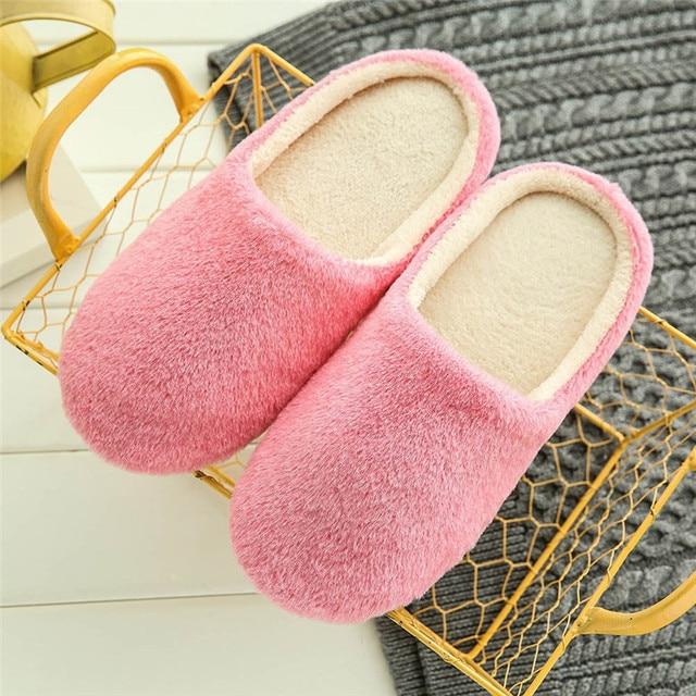 2019 Unisex Inverno Piano Casa Delle Donne Morbide Pantofole Indoor Suola di Cotone Imbottito Scarpe in Casa Pantofole Breve Peluche Morbido Caldo cotto