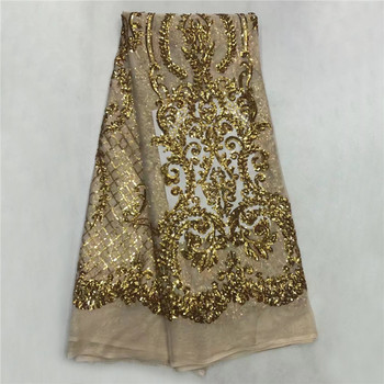 Hot selling products Latest African Lace High Quality french Lace Fabric with sequins For Wedding Dress  SL1062
