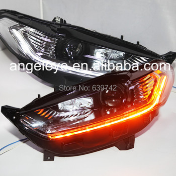 For FORD Fusion Titanium for Mondeo LED Head Lamps Projector Lens LED Light High Beam 2014 year Doble Color SY