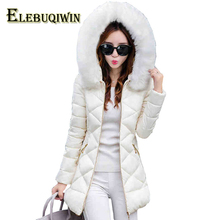 Winter Womens Hot 2017 New Parkas Long Down Cotton Jackets Thicker Coat Removable Fur collar Hooded Warm Slim Women's Coats L23