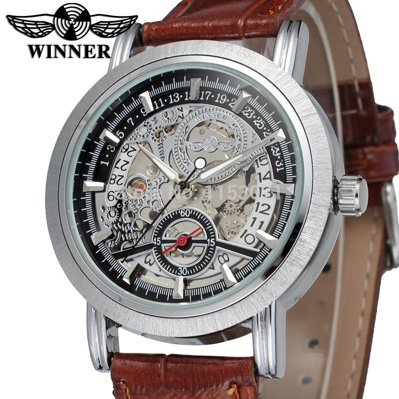 где купить WRG8077M3S1 winner brand free shipping new arrival Automatic men silver color skeleton watch  with brown leather band wristwatch по лучшей цене